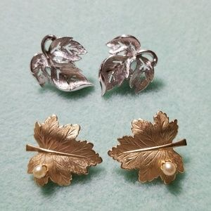 Two pairs clip on earrings.